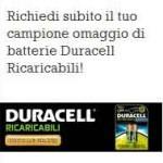 Campione omaggio delle batterie ricaricabili Duracell